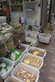 Fish dried store. Typical fish store dried in the center of Hong Kong stock photo