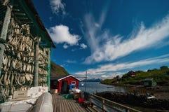 Fish drying in Norwegian village stock images
