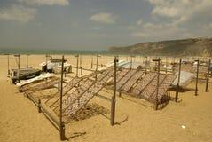 Fish drying racks. In the Nazare beach, Nazare, Portugal Stock Photo