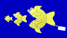 Fish eat fish: dollar eat dollar. Uncertain currency future and hard economic competition. Image is isolated Royalty Free Stock Image