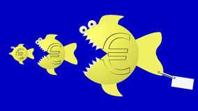 Fish eat fish: euro eat euro. Uncertain currency future and hard economic competition. Image is isolated Stock Photography