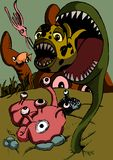 Fish eat fish poster illustration. A fantasy marine life illustration of surreal fish feeding. A cartoon type children`s poster illustration of small fish being Royalty Free Stock Images
