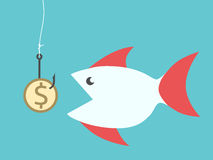 Fish eating dollar bait. Big fish eating golden dollar coin bait hanging on hook on fishing line. EPS 8 vector illustration, no transparency Royalty Free Stock Image