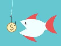 Fish eating dollar bait Royalty Free Stock Image