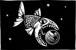Fish Eating Earth. Giant monster fish getting ready to devour the Earth stock illustration
