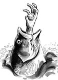 Fish eating a man. Ink sketch of a fish swallowing a man Stock Photo