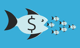 Fish eating small ones. Big fish with dollar sign eating many small ones. Competition, merger, business, monopoly concept. EPS 8 vector illustration, no Royalty Free Stock Photo