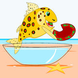 Fish eats a dish. Cartoon illustration of a yellow spotted fish eating a dish for a snack, by the sea Stock Photos