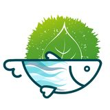 Fish eco symbol. With green leaf Royalty Free Stock Images