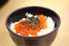 Fish Egg Rice Ball. Sushi Rice Bowl filled with Tuna Salmon Prawn Tofu and Vegetables Stock Photo