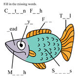 Fish english fill missing words. Illustration cartoon fish fill in the missing word white background Stock Images