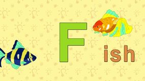 Fish. English ZOO Alphabet - letter F. Animation English alphabet. Letter F and word  Fish. 2D handmade animation stock footage
