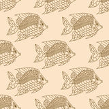 Fish Engraved Seamless Pattern. Vector tender illustration Stock Image
