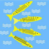 Fish enjoying in water 1234. This is an illustration of fishes having patterns of 1,2,3 and 4 enjoying in water Royalty Free Stock Image