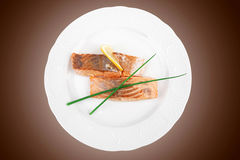 Fish entree : roasted salmon fillet Royalty Free Stock Photo