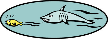 Fish escaping from a shark vector illustration. Vector illustration of a fish escaping from a shark Stock Images