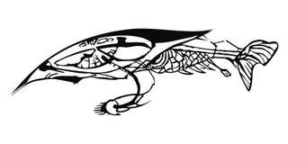 Fish-eye. Black image on white background clipping path Stock Image