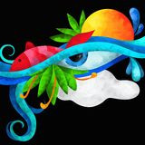 Fish and an eye. Abstract background with a fish and an eye Royalty Free Stock Images