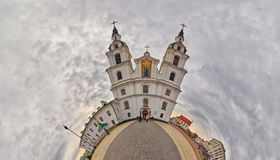Fish-eye Bended Panorama of Holy-Spirit Cathedral in Minsk Royalty Free Stock Photography