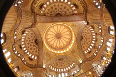 Fish-eye Blue Mosque ceiling, Istanbul, Turkey stock images