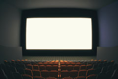 Fish eye cinema. Cinema hall interior with rows of seats and blank white screen. Fish eye lens. Mock up, 3D Rendering Royalty Free Stock Images