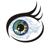 Fish eye concept. Vector, unusual symbol of an abstract eye in the fish form Royalty Free Stock Photos