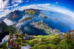 Fish-eye dell'arcipelago di Lofoten Fotografia Stock