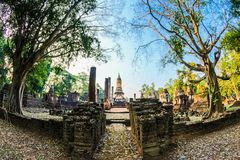 Fish Eye Lens Pathway Along the Temple royalty free stock image
