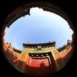 Fish-eye lens photography of Beijing Palace Museum with unique vision. Photographers use fisheye lenses to photograph the Palace Museum in Beijing, China. It has royalty free stock images