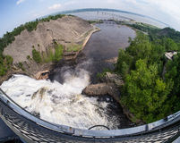 Fish eye lens view of Montmorency Falls Quebec Canada Stock Photography
