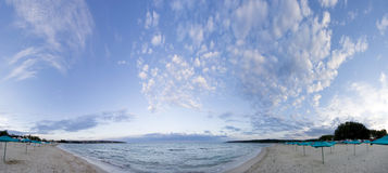Fish-eye panorama. Of the beach with clouds in the sky Stock Photo