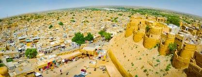 Fish-eye panoramic view over Jaisalmer stock image
