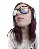 Fish eye studio portrait of a female DJ Stock Photography