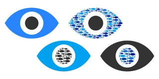 Fish Eye Vector Collage Illustration. Fish eye vector illustration set with collage elements filled by fish icons in blue and gray colors. Flat eco style with Royalty Free Stock Image