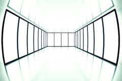 Fish eye view. On modern empty room with light from windows Stock Image