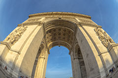 Fish-eye view of Arc de Triomphe. In Paris, France Royalty Free Stock Image