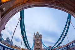 Fish Eye view architecture from Tower Bridge. LONDON, ENGLAND - NOVEMBER 27, 2017: Fish Eye view architecture from Tower Bridge and London over river Thames with Royalty Free Stock Image