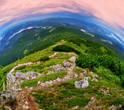 Fish-eye  view of the beautiful landscape Royalty Free Stock Images