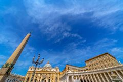 Fish eye view of buildings from St. Peter`s Square, Vatican City Stock Photos