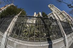 Fish eye view 180 of the church gate of San Manuel and San Benito in the city of Madrid royalty free stock photos