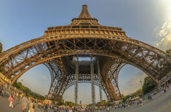 Fish-Eye view of Eiffel Tower Stock Images