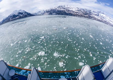 Fish Eye View of Floating Icebergs and Mountains Royalty Free Stock Photos
