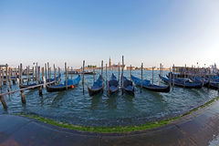 Fish eye view of Grand Canal with gondolas Royalty Free Stock Photography