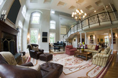 Fish eye view large luxury living room Royalty Free Stock Photography
