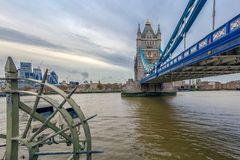 Fish Eye view with London architecture from Tower Bridge. LONDON, ENGLAND - NOVEMBER 27, 2017: Fish Eye view architecture from Tower Bridge and London over river Stock Photos