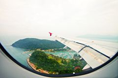 Fish eye view of Malaysia from flight window Royalty Free Stock Images