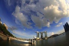 Fish eye view of Marina Bay. Fisheye view of iconic Singapore Marina Bay Skyline in Singapore Stock Photos