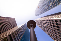 Fish-eye View of Modern Buildings in Paris, France Royalty Free Stock Photos