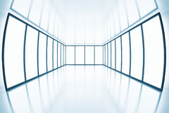 Fish eye view on modern empty room. With light from windows Royalty Free Stock Image