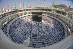 Muslim pilgrims face the Kaabah in Makkah, Saudi Arabia. Fish eye view of Muslim pilgrims face the Kaabah in Makkah, Saudi Arabia Stock Photos